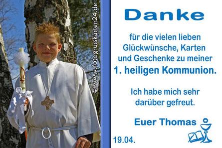 Kommunion Danksagungen mit Foto Erstkommunion Dankeskarten