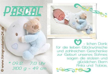 Dankeskarte zur Geburt mit Foto