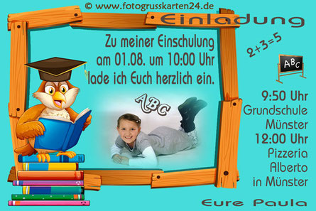 Einladungskarte Einschulung Lese-Eule mit Foto