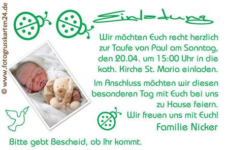 Einladungskarte Taufe Taufeinladung grün mit Marienkäfer
