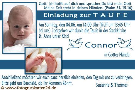 Taufe Einladungskarte mit Foto blau Junge
