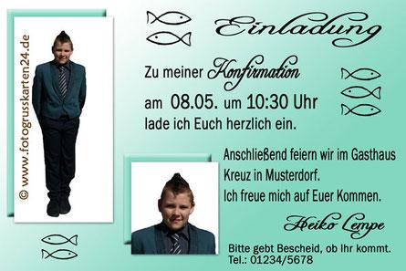 Einladungskarte Konfirmation mit Foto