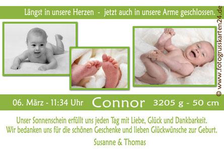 Babykarten Karte zur Geburt mit Foto