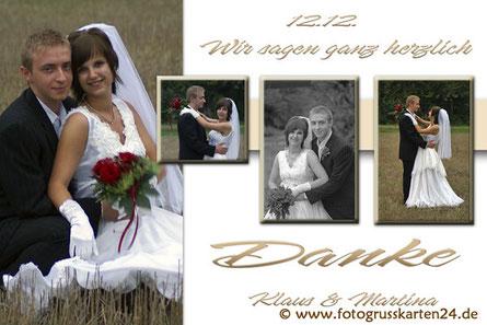 schlichte Dankeskarte zur Hochzeit
