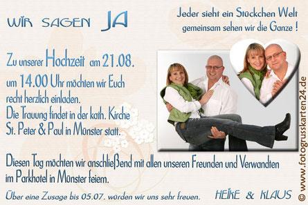 Einladungen zur Hochzeit mit Foto Einladungskarten