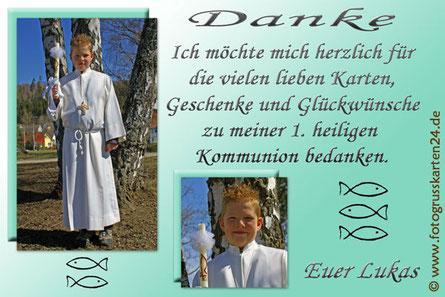 Dankeskarten Erstkommunion Danksagungen Kommunion