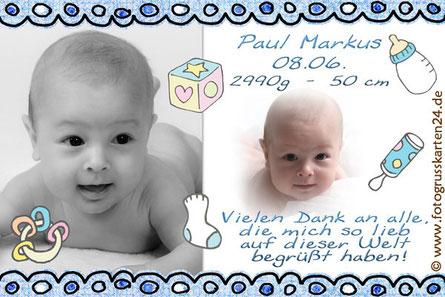 süsse Dankeskarte zur Geburt Jungen blau