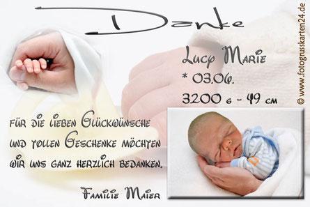 Dankeskarten zur Geburt Babykarten