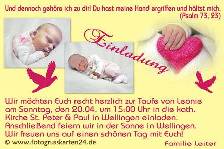 Einladungskarte Taufe gelb Mädchen mit Foto
