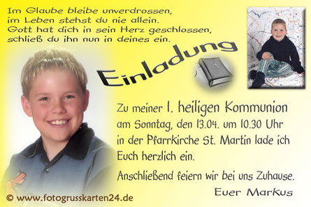 gelbe Einladungskarte Kommunion mit Foto