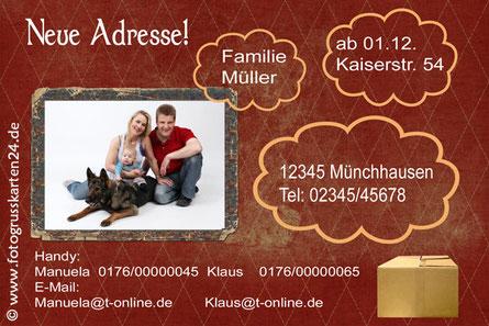 Änderung der Adresse nach Umzug - Karte mit euer Adresse