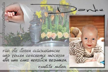 Danke Fotokarte zur Taufe Danksagung Taufe