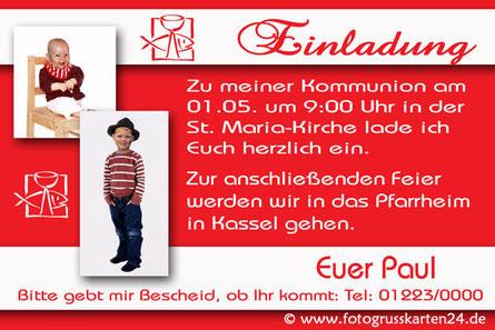 Einladungskarte Erstkommunion rot mit Foto