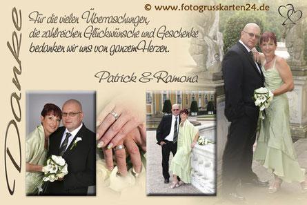 Dankeskarte Hochzeit in beige mit Foto Danksagungskarte