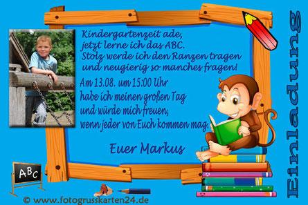 Einladungskarte Schuleinführung Affe