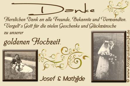 Danksagungskarte zur goldenen Hochzeit 50 Jahre verheiratet mit Foto