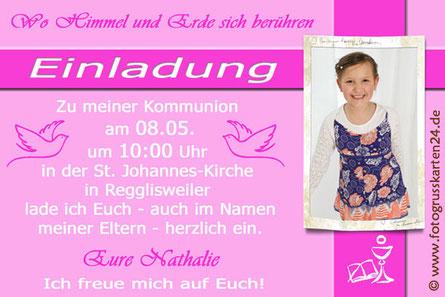 Einladungskarten rosa mit Foto Kommunion