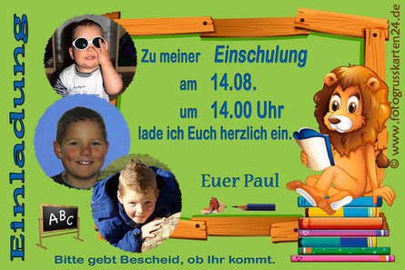 Einladungskarte Schuleinführung Löwe