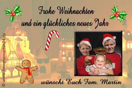 Weihnachtskarten Grusskarte zu Weihnachten Lebkuchenmann