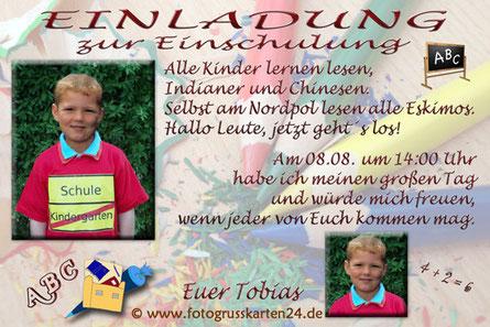 Schulanfang Einladungskarte mit Foto