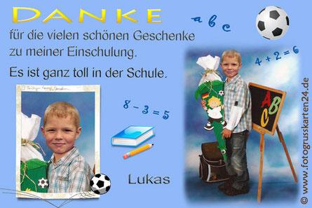 Dankeskarte Schulanfang mit Foto und Fussball