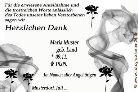 Danksagungskarten Trauer Beerdigung