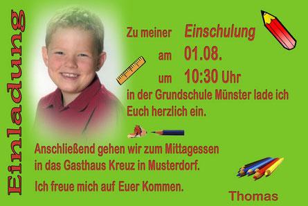 Einladungskarte zur Einschulung grün für Jungen mit Foto