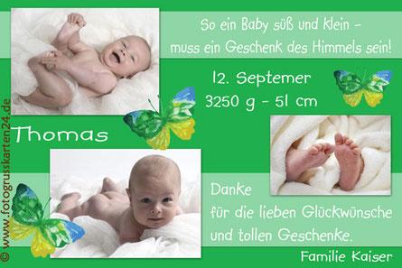 Geburtskarte Babykarte Geburtsanzeige