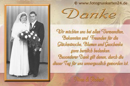 Dankeskarte Goldhochzeit Dansagungskarten goldene Hochzeit