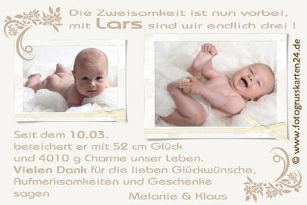 Dankekarte zur Geburt mit Foto