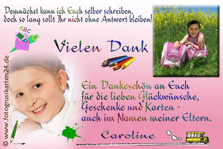 Dankeskarte Einschulung rosa