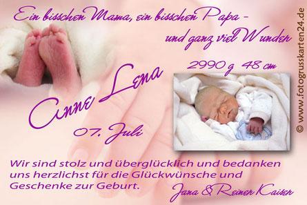 Danksagungskarte zur Geburt Babykarte