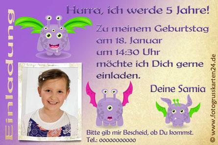 Mädchen Einladungskarte Monster Geburtstag
