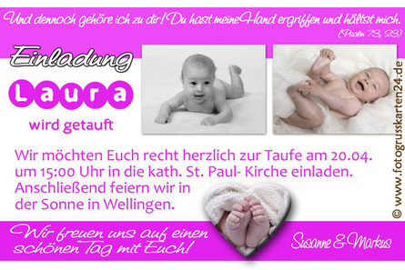 Taufe Einladungskarte pink Mädchen