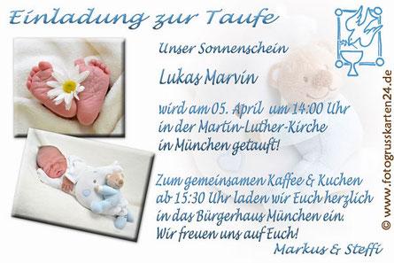 Blaue Einladungskarte zur Taufe