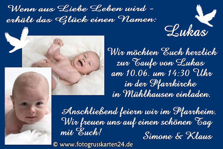 Einladungskarten Taufe Taufeinladungen mit Foto