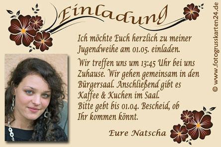 Einladungskarten Jugendweihe Foto