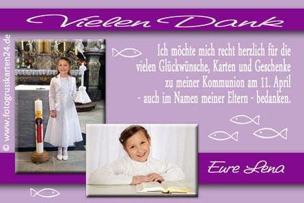 Kommunion Danksagungen Erstkommunion Dankeskarten mit Foto