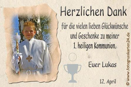 Dankeskarten Erstkommunion Danksagungskarten Kommunion mit Foto