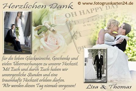 Danksagung zur Hochzeit Dankeskarten Trauung