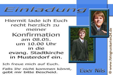 Konfirmation Einladungskarten mit Foto