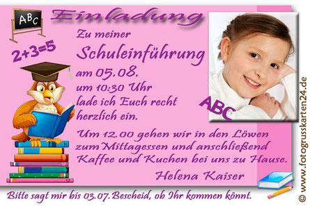 Einladungskarte Schuleinführung Leseeule mit Foto
