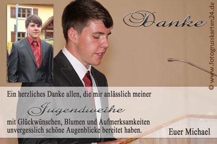 Danksagungskarte zur Jugendweihe mit Foto