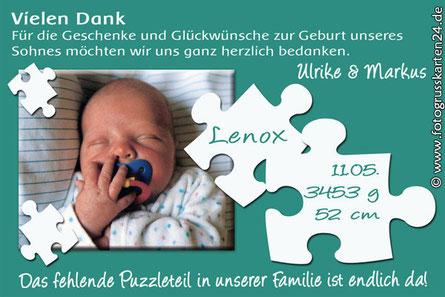 Dankeskarte zur Geburt Puzzleteil