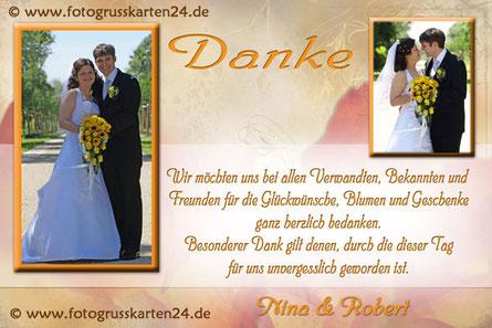 Danksagungen zur Hochzeit mit Foto Dankeskarten