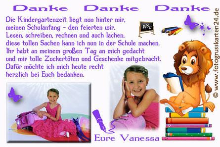 Schuleinführung Dankeskarten mit Foto