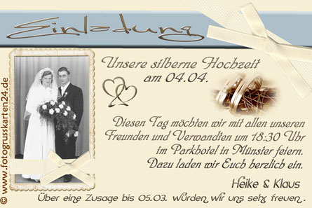 Einladungskarte zur silbernen Hochzeit Einladung Silberfest 25. Jahre