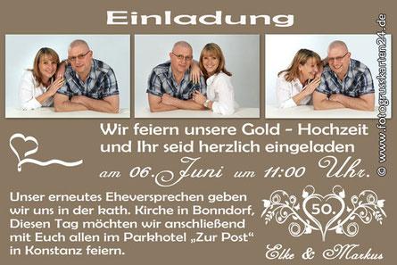 Einladungen zur Goldenen Hochzeit
