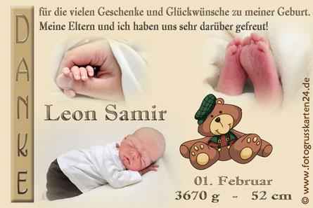 Dankeskarte mit Teddy zur Geburt