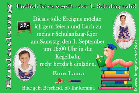 Einladungskarte Schuleinführung Lesewurm mit Foto